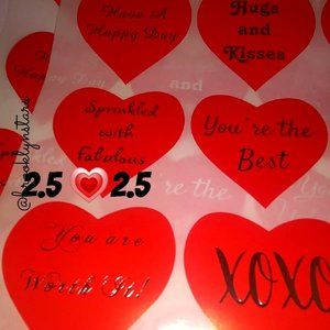 "96 Large Heart Stickers assorted 2.5"" x 2.5"""